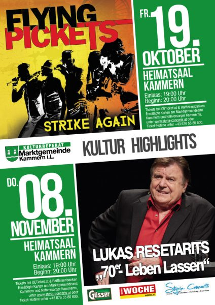 Kulturhighlights Flying Pickets und Lukas Resetarits